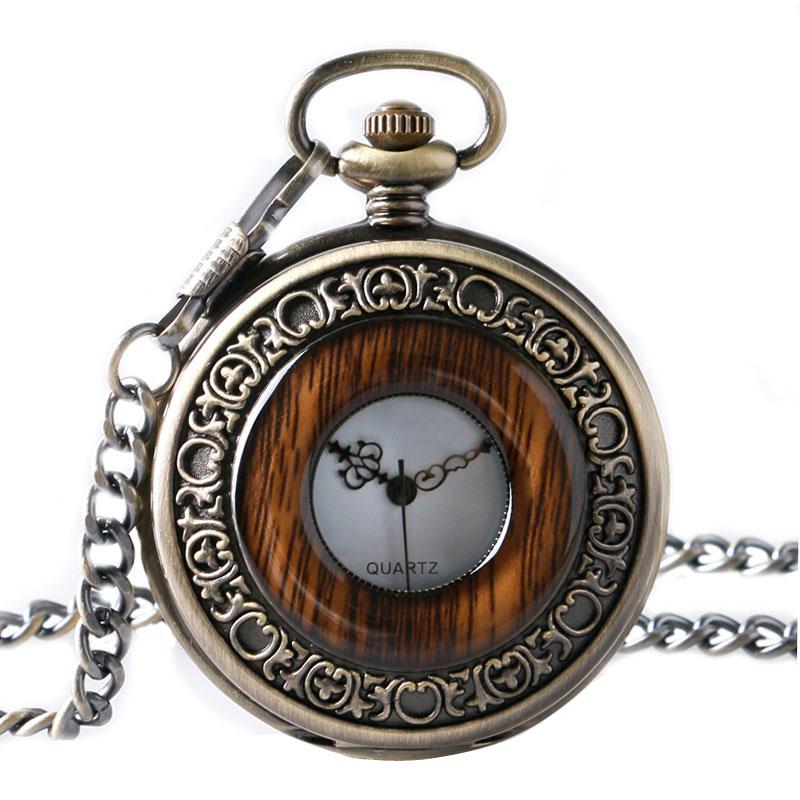 Vintage Wood Round Case Pocket Watch Luxury Quartz Analog Half Hunter For Men Women Fob Wooden Watch With Chain Top Gift Ulzzang
