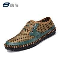 En cuir Loisirs Chaussures Hommes Bateau Chaussures Hommes Appartements Respirant Lacent Chaussures D'été Nouvelle Vente Chaude 6 Couleurs # C001