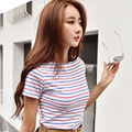 2019 stripe women's t shirt Brand new O-neck cotton t-shirt Short sleeved female tshirts femininity slim tee shirts For Lady