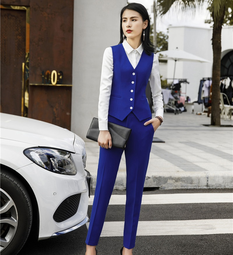 Formal 2 Piece Uniform Styles Blazers Women Business Suits With Pants And Vest Coat & Waistcoat Ladies Pants Suits Trousers Sets
