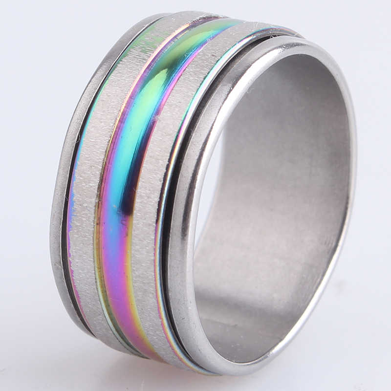 9mm double Scrub rotate 316L Stainless Steel wedding rings for men women wholesale