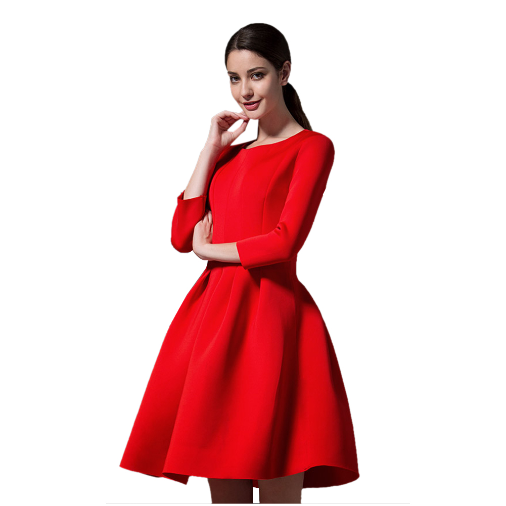 Elegant Fit And Flare Women Dress High Waist Red Black -9020
