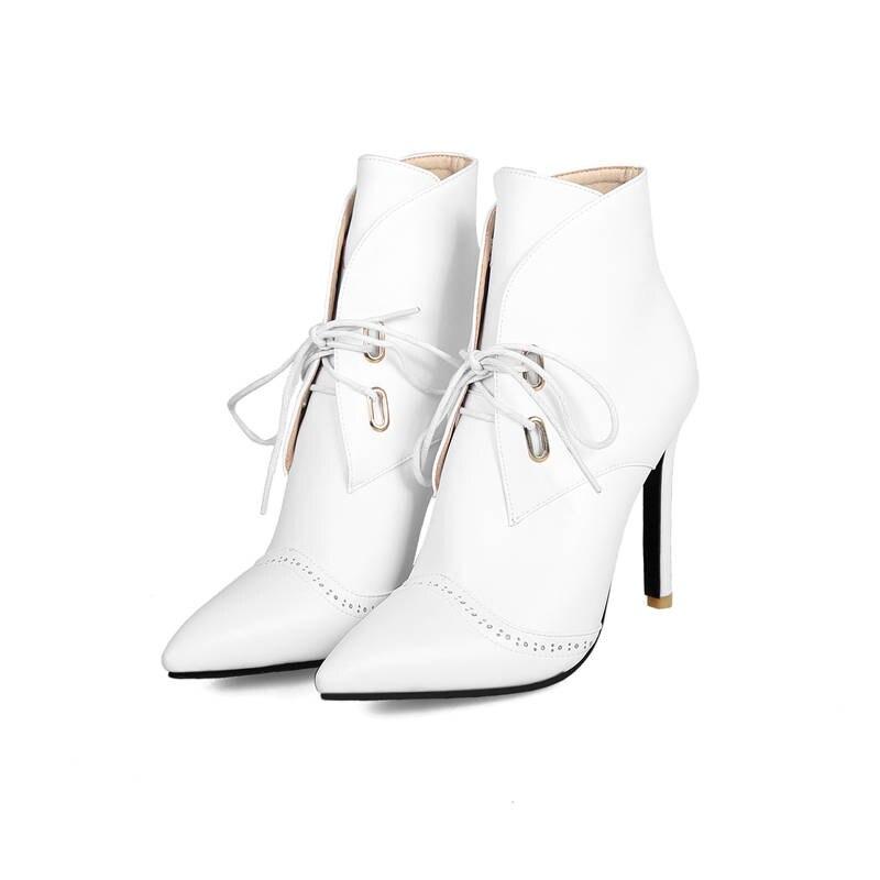 Bout 2018 rouge Up Lace Bottes Sexy Robe Noir Hiver Cheville Pointu Talons Automne Memunia Élégante Femmes Stiletto Chaussures blanc Femme Mode A35jL4qR