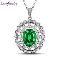 NEW Wonderful Oval 8x10mm 14Kt White Gold Natural Diamond Emerald Wedding Pendant WP050