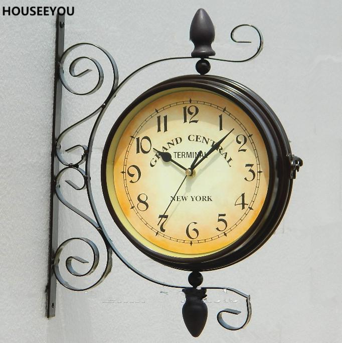 Europa Schmiedeeisen Doppel Gesicht Wanduhren Quarzuhr Vintage Wohnkultur Uhr Fr Wohnzimmer Indoor Outdoor Horloge Murale