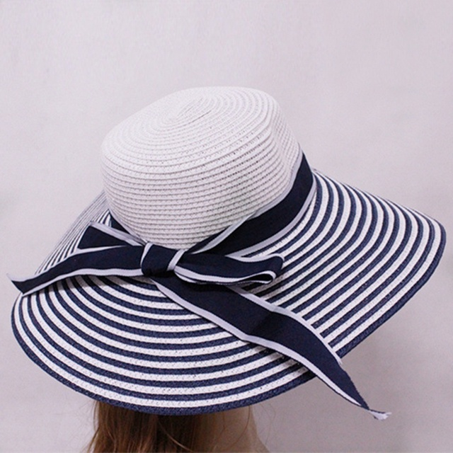 144302dc338 2018 New Women Vintage Wide Brimmed Sun Hat Wedding Tea Party Church Straw  Cap Bowknot Fashion