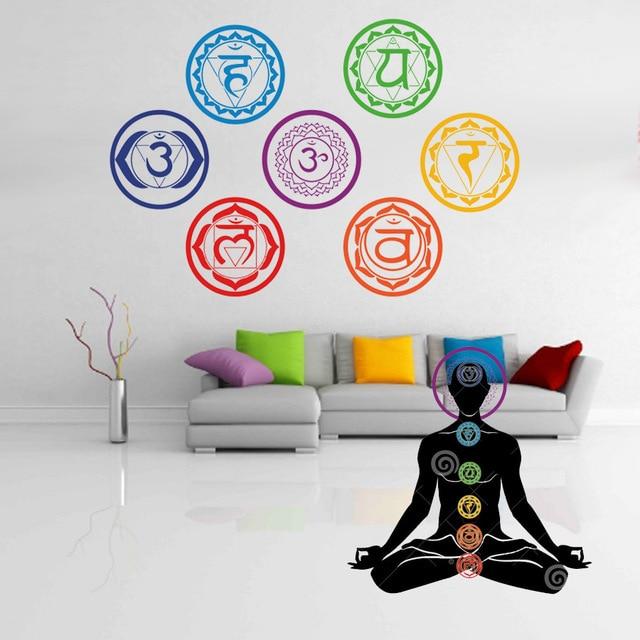 7db / Színes hét csakrás vinil fali matrica Mandala jóga Om - Lakberendezés