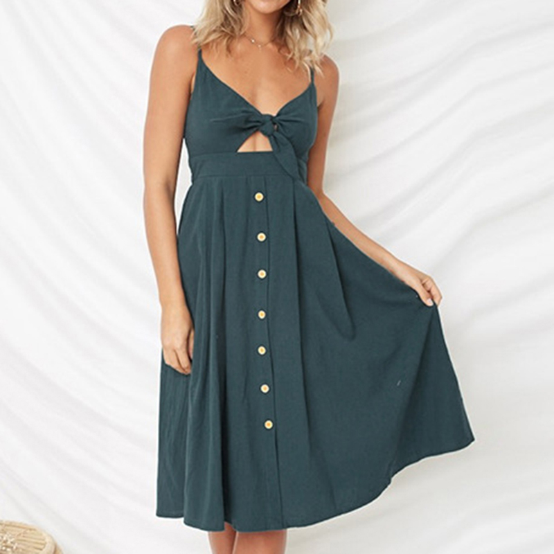a5b33d015e0 CALOFE Women Summer Dress Clubwear Sundresses Sexy Strap Off Shoulder Lace  up Ruffles Backless Vestidos Pocket Party Dresses-in Dresses from Women s  ...