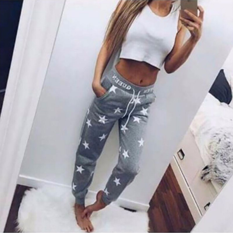 Solid   Pants     Capris   Tracksuit Pink /Gray Loose   Pants   Women Printed Star Casual Long Trousers Fashion Sweatpants 2018