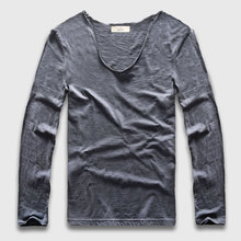 Zecmos Long Sleeve Men T-Shirt V Neck Male T Shirt Cotton Fashion Top Tees Slim Fit