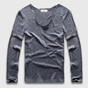 Zecmos Long Sleeve Men T-Shirt V Neck Male T Shirt Cotton Fashion Top Tees Slim Fit
