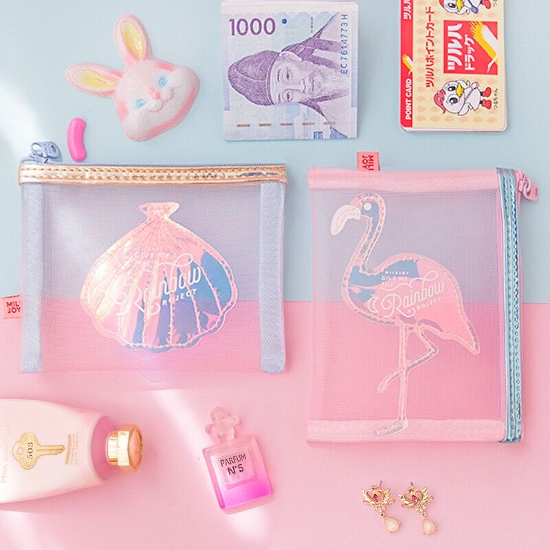 Packaging-Bag Cosmetic-Bags Coin-Purse Yarn Flamingo Shell-Jewelry Pocket Storage Zipper-Pouch