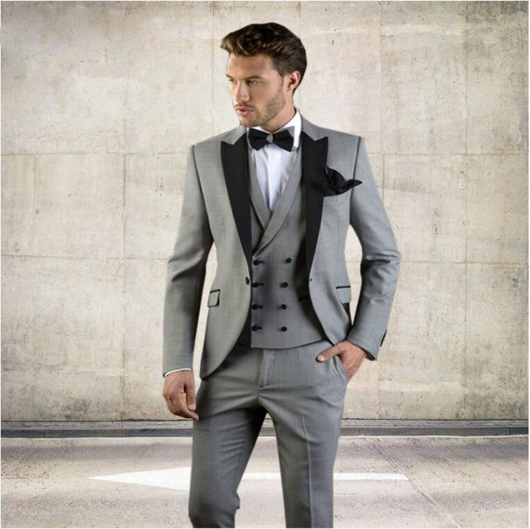 (Blazer+Pants+Vest)2019 Grey Men Suit Slim Fit Jacket With Black Tuxedo Custom Made Blazer Wedding Groom Suits Costume Homme