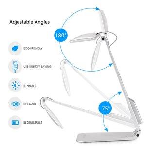 Image 3 - Lámpara de mesa de lectura ultradelgada, estilo Mac, LED de 200LM, 3 modos de atenuación táctil, lámpara de escritorio con batería integrada, luz nocturna suave