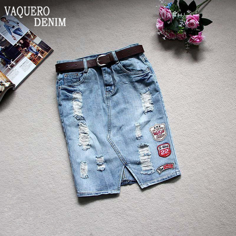 Womens Fashion 2016 Summer High Waist Denim Skirts Jeans Female Hole Ripped Short Skirt Slim Pencil
