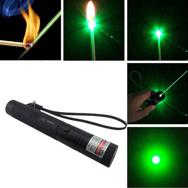 High Power Adjustable Focus Burning Green Laser Pointer Pen 301 532nm Continuous Line 500 to 10000 meters Laser range