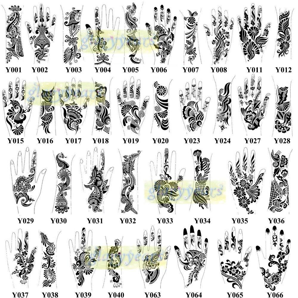1pc Large Mehndi Henna Glitter Temporary Tattoo Airbrush Stencils Women Men Leg Sun Flower Body Art Paint Paper Template Y000 In Tattoos From