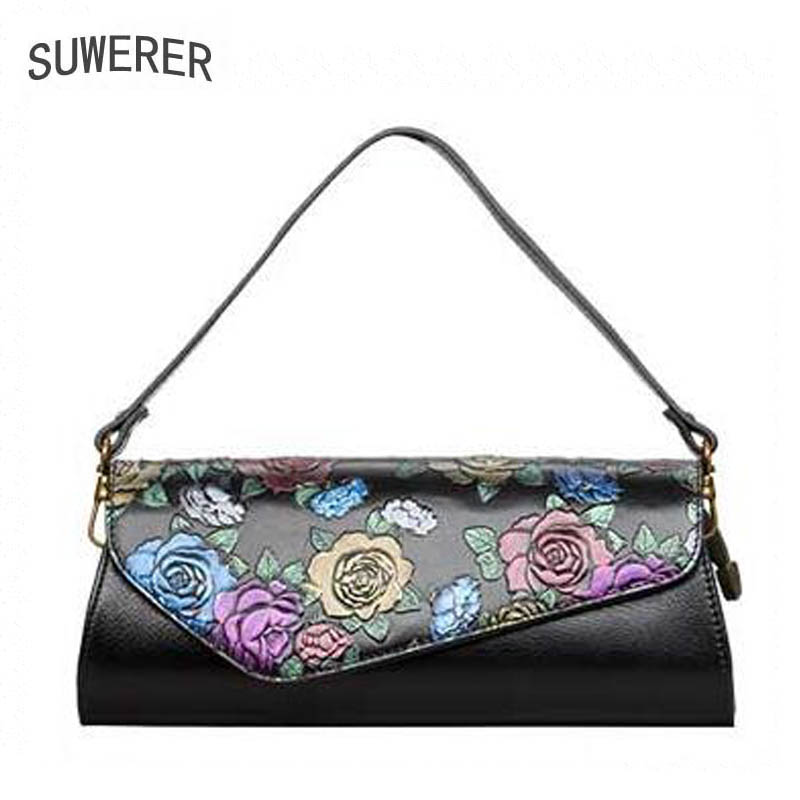 SUWERER2018 high-quality fashion luxury brand flower Shoulder Messenger bag genuine leather, women's well-known brand