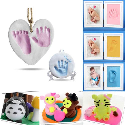 Soft Air Dry Clay Babies Hand print Footprint Imprint-Set Casting Print Keepsake