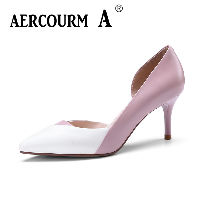 Aercourm A 2018 New Spring Women Genuine Leather Pumps Girls Black Pink Dress Spell Color Shoes Thin Heel Female Shoes FDE1133 aercourm a 2018 new women genuine leather shoes ladies white pink dress solid shoes thin heel women pointed head pumps fde1121