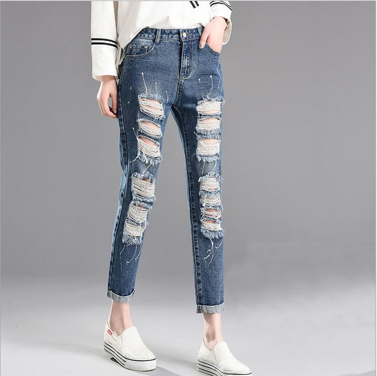 2017 spring and summer new women s casual feet harem pants fashion Simple ripped high waist