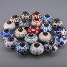 1x Various Models Ornate Blue Red Floral Ceramic Knobs for Cabinets & Cupboards - Hand Painted Pulls Handle