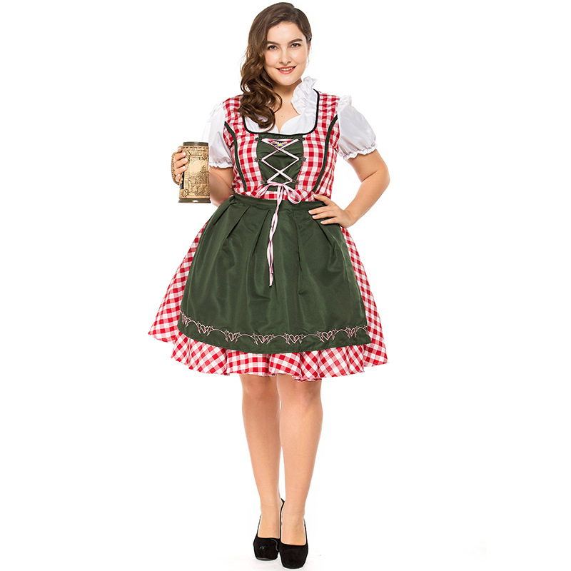 UK Cheers Traditional German Girl Oktoberfest Dirndl Fancy Dress Servant Costume S-3XL 2841