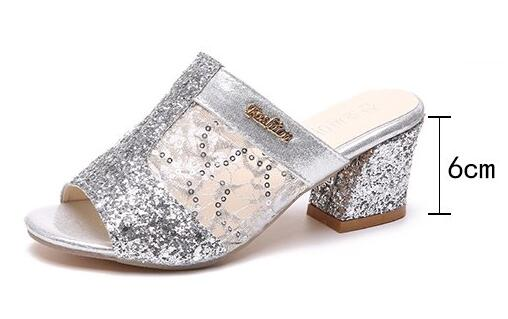 e1bc2e3219d hot sale Summer Women s Rhinestones Slippers Slides Fashion Thick High  Heels Gladiator Sandals Beach Flip Flops Shoes Mujer A008-in Slippers from  Shoes on ...
