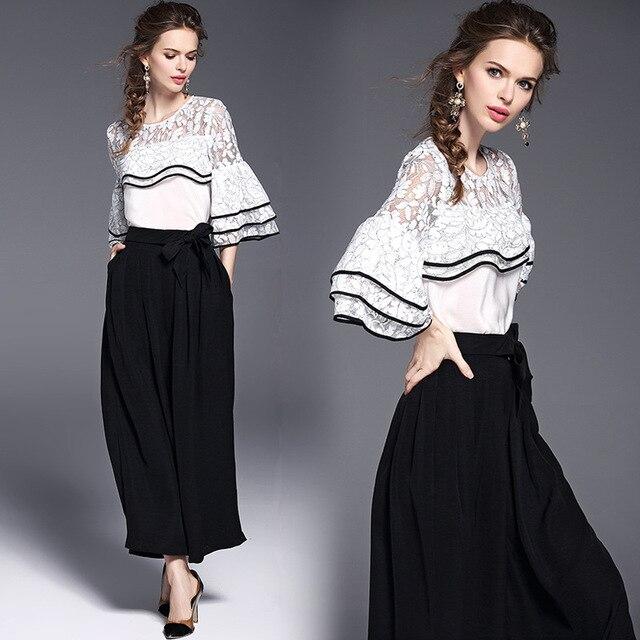 European Style 2018 Spring New Women S Elegant Pants Suits 2 Piece