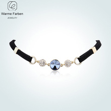 WARME FARBEN For Women Necklaces Crystal from Swarovski Bohemia Clavicle Choker Necklace Round Rope Chain Jewelry Party Collare