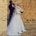 Elegant Ball Gown Muslim Wedding Dress Long Sleeves Bridal Gown Appliques Court Train novia 2015 Dubai Arab