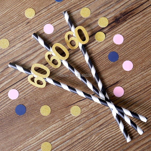 Sixty Party Straws - 60th Birthday - Glittered Party Straws - Birthday Party Decorations - Anniversary : 60th birthday tableware - pezcame.com