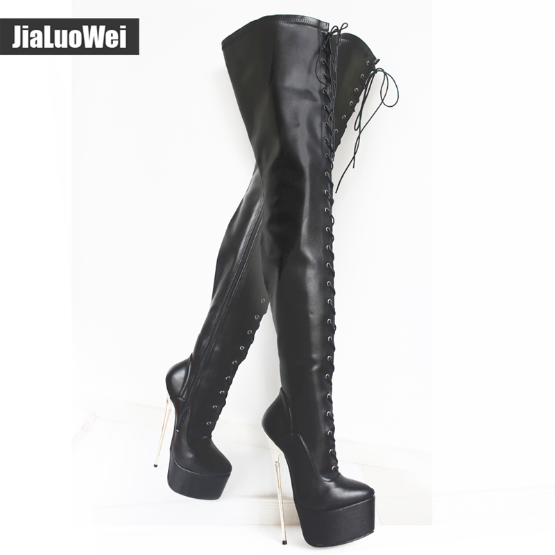 jialuowei 2017 New 22cm Ultra High Gold Metal Thin Heel Sexy Fetish Over the Knee Women Lace-up Platform Party Thigh Long Boots jialuowei 20cm ultra high heel chunky heels platform zip buckle boots women dance party over knee fetish thigh high shoes