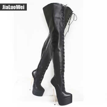 jialuowei 2019 New 22cm Ultra High Gold Metal Thin Heel Sexy Fetish Over the Knee Women Lace-up Platform Party Thigh Long Boots
