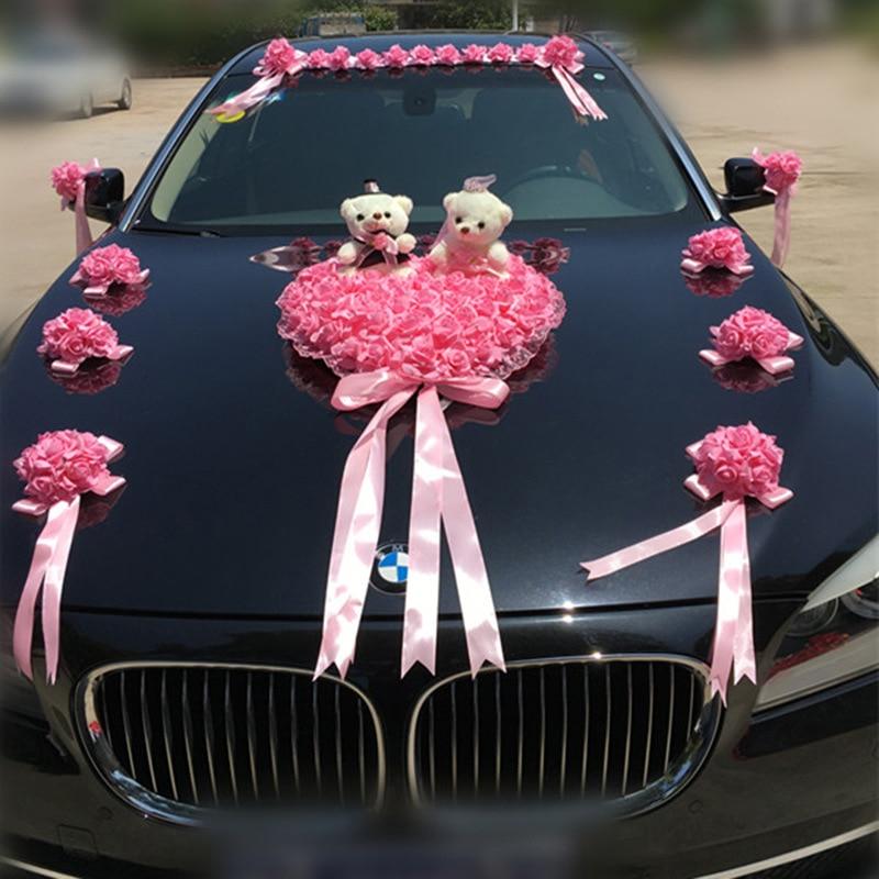 Décoration de voiture de mariage fleurs artificielles mariage fleurs décoratives mousse Roses décoration de soie en gros