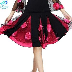 Image 3 - Senhoras saia de dança de salão feminino moderno padrão valsa desempenho saia palco salsa latina rumba cintura elástica #2625 1