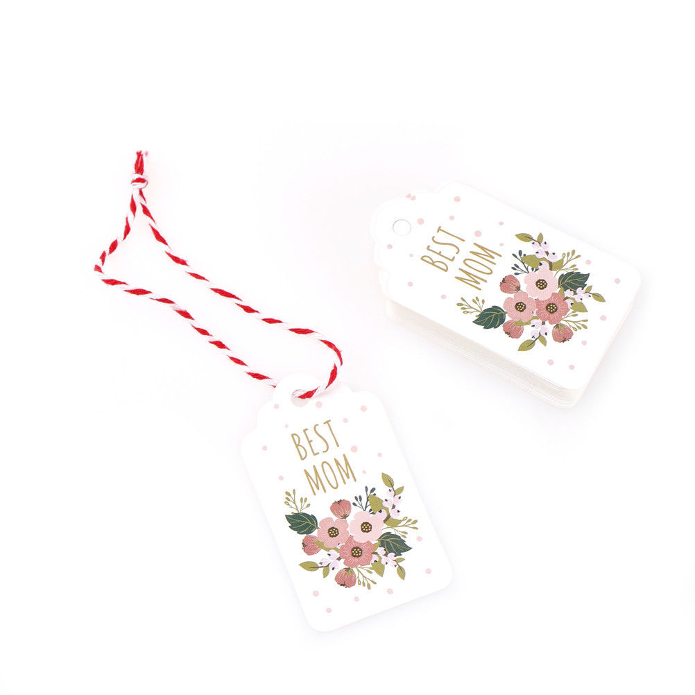 50Pcs DIY Craft Label Paper Tags With StringHanging Ornaments Gifts Favor Festival Decoration For Mother Luggage Party