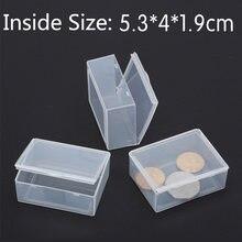 50 teile/los Kleine box rechteckigen Transparenten kunststoff box Lagerung Sammlungen Container Box Fall für schrauben münzen 5.5*4.3*2,2 cm