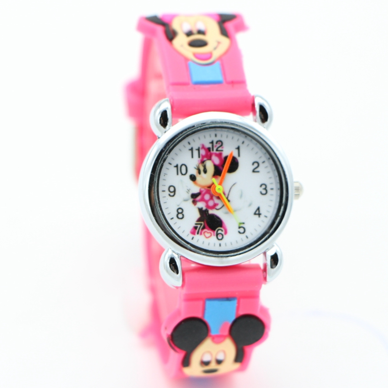 New 3D Cartoon Lovely mickey Kids Girls Boys Children Students Quartz Wrist Watch Popular watches Minnie mouse regarder clock(China)