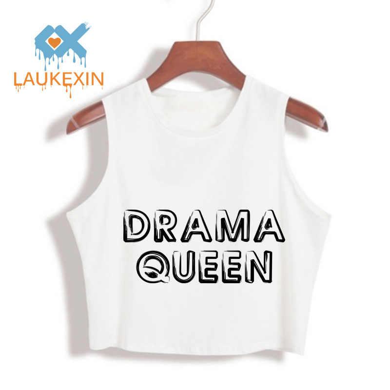 Dramat królowa litery drukowane 100% bawełna luźne Crop Top harajuku 2019 moda lato Crop topy kobiet Sexy Tumblr przycięte tkaniny
