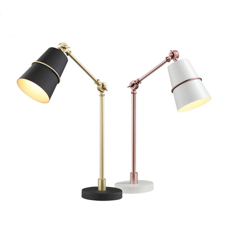 Modern Desk Lamps black white gold metal body For Bedroom Metal Reading Lamp Luminaria De Mesa Modern E27 Book Lighting Fixtures