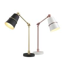 Modern Desk Lamps black white gold metal body For Bedroom Metal Reading Lamp Luminaria De Mesa E27 Book Lighting Fixtures