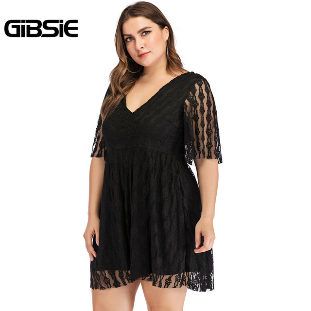 GIBSIE Plus Size V-Neck Backless Sexy Elegant Black Lace Dress 5XL 4XL Women Summer Casual Party Slim High Waist Mini Dresses 4