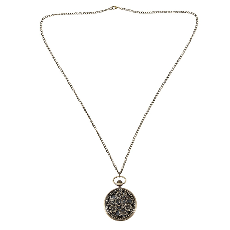 Lotus Pocket Watch Three Lotus Vintage Pendant Sweater Chain Bronze Men's And Women's Pocket Watch