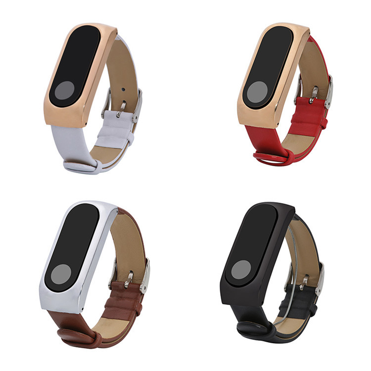 FOHUAS Leather Strap Wrist Band For xiaomi Mi band 2 Bracelet for Miband 2 Smart Accessory Black White Red Brown Replacement survival nylon bracelet brown