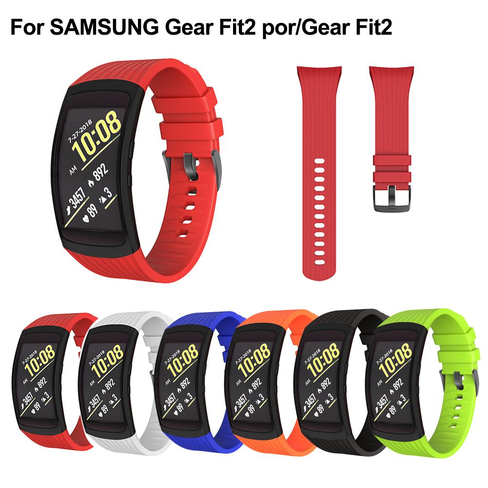 Strap R360 Stripe Silicone Replacement Wrist Strap Long 182MM Width 20MM Silicone Strap For SAMSUNG Gear Fit2 Por Gear Fit2(China)