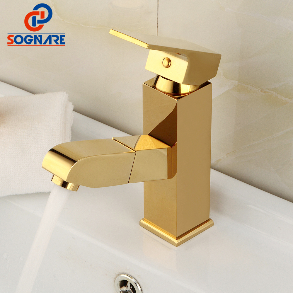 SOGNARE Pull Out Basin Faucet Bathroom Sink Mixer Tap Hot and Cold Water Faucets Golden Finish/Nickel Brushed Torneira D1327 bathroom golden dual handle taps washbasin sink faucets hot and cold water mixer faucet