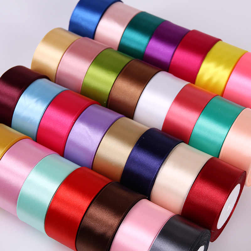 25Yards 6/10/15/20/25/40/50mm Silk Satin Ribbon Wedding Party Christmas Ribbon Flowers Gifts Decorated DIY Apparel Sewing Fabric