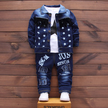 Fashion clothes youngsters cowboysuit youngsters boys&women sports activities garments unisex denim jacket + pants + t-shirt three pcs