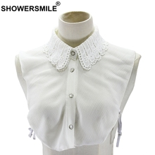SHOWERSMILE White Detachable Collar Women Chiffon Lapel Fake False Ladies Solid Lace Elegant Female Spring Shirt